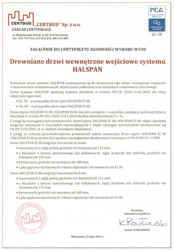 Certyfikat Halspan