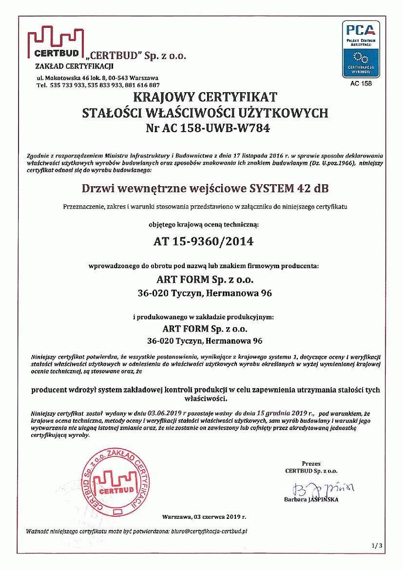 Krajowy certyfikat stałości właściwości użytkowych