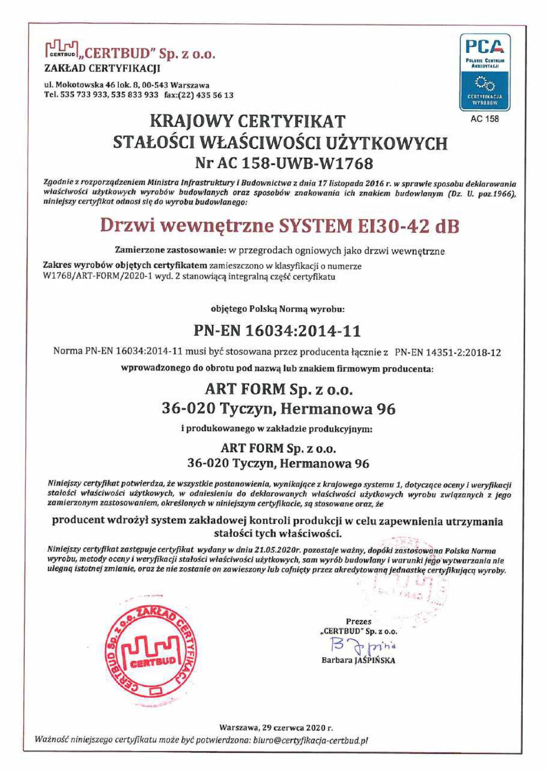 Certyfikat 42dB